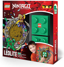 Amazon Com Iq Lego Ninjago Green Night Light Led Nitelite With Lloyd Wall Decals Toys Games