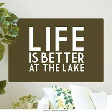 Life Is Better At The Lake Olive Green Wall Decal At Retro Planet