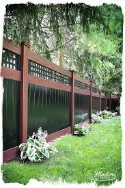 Rosewood And Black Pvc Vinyl Privacy Fence Illusions Fence Backyard Fences Backyard Fence Design