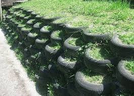 Tire Retaining Wall Tire Garden Landscaping Retaining Walls Retaining Wall