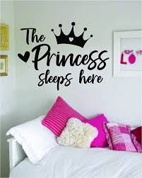 Amazon Com The Princess Sleeps Here Wall Decal Sticker Vinyl Art Bedroom Living Room Decor Decoration Teen Quote Inspirational Girl Baby Daughter Queen Crown Heart Love Cute Home Kitchen