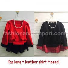 plain leather skirt necklace pearl