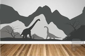 Dinosaur Wall Decal Dinosaur Wall Decor Wall Decals For Kids Mountains And Dinosaurs Custom Wall Deca Dinosaur Wall Decals Dinosaur Mural Dinosaur Wall