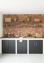 amazing shelves on brick wall