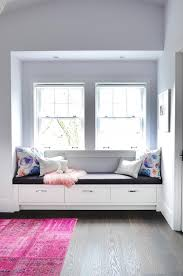 Hot Pink Rug In Front Of Window Seat Transitional Bedroom