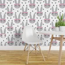 bunny rabbit grey baby nursery fabric