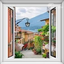 European Small Town Scenery Pattern Design Decorative 3d Wall Stickers With Images Fake Window Window Wall Mural Wall Stickers Bedroom