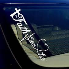 Faith Hope Love Vinyl Decal Sticker Windshield Car Bumper Symbol Heart Cross 19 Ebay