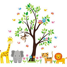 Nursery Wall Decal Jungle Decal Kids Wall Decal Kids Room Wall Decal Tree Wall Decal Gender Neutral Decal Safari Animal Decal Baby Room Furniture