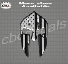 Black And White American Flag Spartan Helmet Vinyl Decal Sticker Country Boy Customs Store