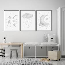 Grey Moon Stars Cloud Nursery And Kids Room Canvas Art Prints Heart N Soul Home