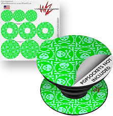 Amazon Com Decal Style Vinyl Skin Wrap 3 Pack For Popsockets Skull Patch Pattern Green Popsocket Not Included By Wraptorskinz Everything Else