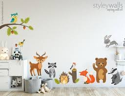 Woodland Animals Wall Decal Forest Animals Wall Decal Etsy In 2020 Animal Wall Decals Woodland Kids Room Wall Decals