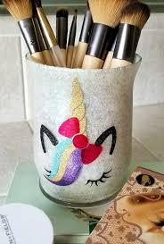 glitter mason jars for makeup brushes