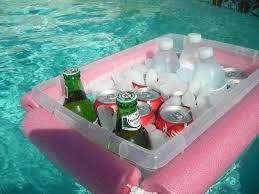 pool noodles plastic bin floating