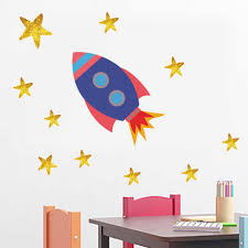 Outer Space Galactic System Sun Stars Rocket Wall Stickers Color Decal Waterpaper For Kids Baby Room Removable Vinyl Mural Art Wall Stickers Aliexpress