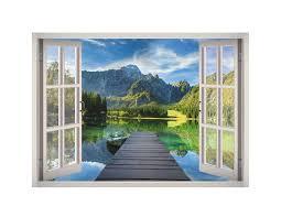 Lake Landscape View Window 3d Wall Decal Art 3d Wall Decals Lake Landscape Decal Wall Art