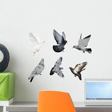 White Six Doves Wall Decal Wallmonkeys Com