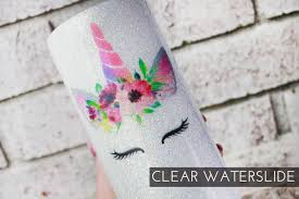 Unicorn Clear Waterslide Images Ready To Use Waterslide Image Uncorn Waterslide Glitter Tumbler Supplies Lovely Rustic Weddings