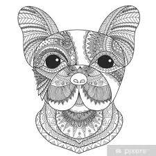 Fotobehang Franse Bulldog Puppy Zentangle Gestileerde Voor Het