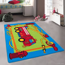 Allstar Kids Baby Room Area Rug Fire Truck Green Blue And Red Bright Colorful Vibrant Colors 4 11 X 6 11 Walmart Com Walmart Com