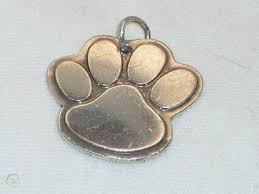 rare tiffany dog paw pendant or charm