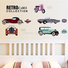 Cartoon Retro Cars Wall Stickers For Kids Rooms Child Room Decoration 7213 Nursery Decor Wallpaper Children Room Boy Wall Stickers Wallpaper Wall Stickers Kids