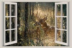 Deer In Snow 3d Window View Decal Wall Sticker Home Decor Art Mural Buck Animals Home Garden Decor Decals Stickers Vinyl Art Ayianapatriathlon Com