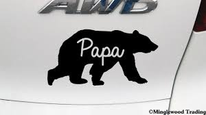 Papa Bear V2 5 X 2 5 Vinyl Decal Sticker Grizzly Black Kodiak Father Dad Daddy Grampa Minglewood Trading