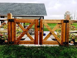 Cedar Gates With Welded Wire Wood Fence Design Fence Design Wood Fence