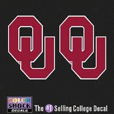 Amazon Com Colorshock Oklahoma Sooners Decal Small Ou Logo 2 Decals Sports Fan Automotive Decals Sports Outdoors