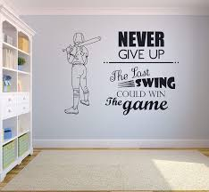 Amazon Com Never Give Up The Last Swing Could Win The Game Softball Wall Decals For Girls Boys Bedroom Inspirational Quotes Sports Decor Vinyl Stickers Motivation Decor Batter Room Decoration Size 25x30 Inch