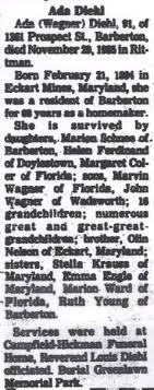 Ada Nelson Wagner Diehl (1894-1985) - Find A Grave Memorial