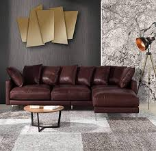 brown leather sectional sofa couch w