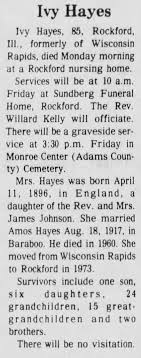 Obituary for Ivy Hayes (Aged 85) - Newspapers.com