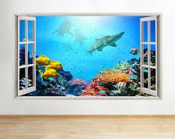 Wall Stickers Aquarium Fish Shark Coral Reef Decal Poster 3d Art Vinyl Room A088 Ebay