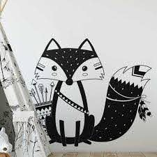 God Tribal Fox Wall Decal Cute Woodland Fox Wall Sticker For Kids Room Nursery Wall Art Tattoo Vinyl Murals Sticker For Kids Room Wall Stickers For Kidswall Sticker Aliexpress