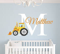 Amazon Com Custom Tractor Name Wall Decal Tractor Room Decor Nursery Wall Decals Tractor Vinyl Sticker For Boys Baby