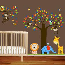 Giraffe Elephant Monkey Nursery Wall Decal Sticker Vinyl Tree And Branch Jungle Decal Red Blue Kids Bedroom Wall Decals Nursery Wall Stickers Kids Wall Decals