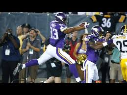 Vikings rookie tight end Mycole Pruitt scores first TD of the Hall of Fame  game - YouTube