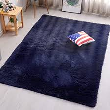 Amazon Com Pagisofe Navy Fluffy Shag Area Rugs For Bedroom 3x5 Soft Fuzzy Shaggy Rugs For Girls Bedroom Kids Room Carpet Furry Throw Dorm Rug Furniture Decor