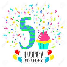Numero 5 Del Feliz Cumpleanos Tarjeta De Felicitacion Durante