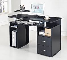 black computer desk with glass top