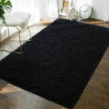 Amazon Com Andecor Soft Fluffy Bedroom Rugs 4 X 6 Feet Indoor Shaggy Plush Area Rug For Boys Girls Kids Baby College Dorm Living Room Home Decor Floor Carpet Black Home Kitchen