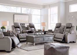man den power reclining sofa set gray