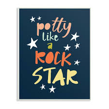 The Kids Room By Stupell 13 In X 19 In Potty Like A Rock Star Typography By Border Bloom Printed Wood Wall Art Brp 2241 Wd 13x19 The Home Depot
