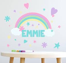 Personalized Name Wall Decal 136 Piece Girls Rainbow Wall Decor Sti