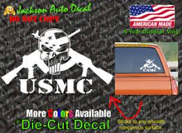 Usmc Marine Corps Military Punisher Skull Vinyl Car Window Decal Bumper Sticker Ebay