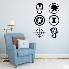 Avengers 6 Symbols Home Decor Wall Decal Vinyl Sticker Boy Room Wall Stickers X0100 Wall Stickers Aliexpress
