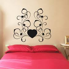 Ebern Designs Swirly Heart Faux Headboard Vinyl Words Wall Decal Wayfair